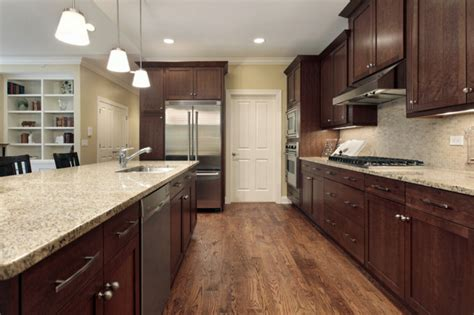 Kitchens With Cabinets And Light Countertops by Santa Cecilia Light Granite Countertop Traditional