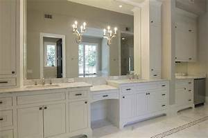 Off white cabinets transitional bathroom for Best brand of paint for kitchen cabinets with bathroom wall art sets