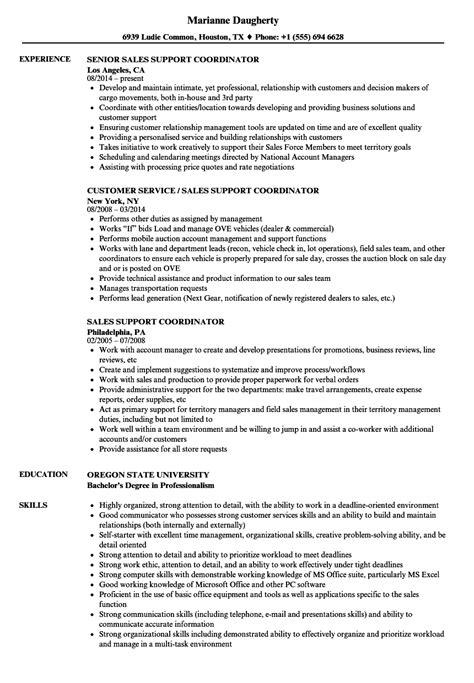 Sales Coordinator Resume by Sales Support Coordinator Resume Sles Velvet