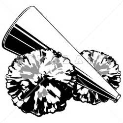 Cheerleading Megaphone and Pom Pom Clip Art
