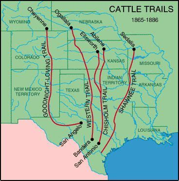C Dodge Map by 1865 1886 Cattle Trails Map These Trails Took Herds Of