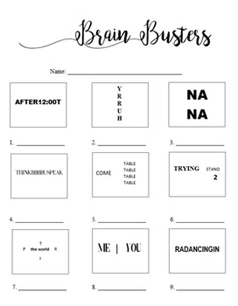 brain busters rebus puzzles worksheet with answers by