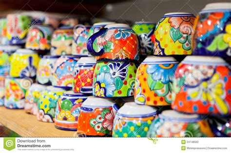 Colorful Handmade Ceramic Cups Stock Photos   Image: 24748563