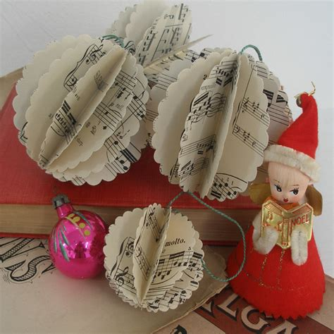 vintage sheet music paper christmas decorations folksy