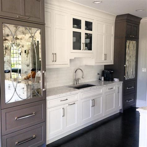 mirrored glass kitchen cabinets white and gray kitchen cabinets with antiqued mirrored