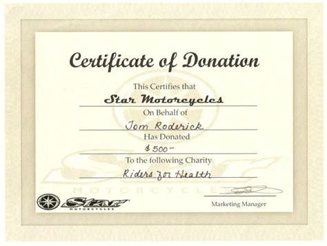 donation certificate templates  printable word