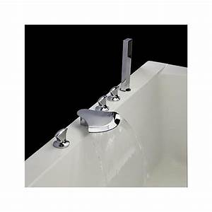 Robinet Cascade Baignoire : finition chrom e contemporaine cinq trous trois poign es cascade robinet de la baignoire avec ~ Nature-et-papiers.com Idées de Décoration