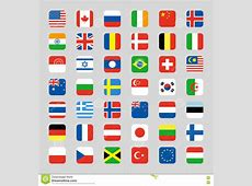 Asia Flags Square Icons Vector Illustration