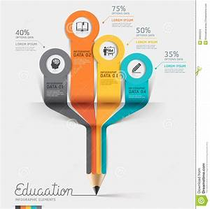 Education Pencil Infographics Step Option  Stock Vector