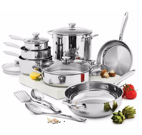 wolfgang puck cooking  pc stainless steel cookware set pans pots glass lids ebay