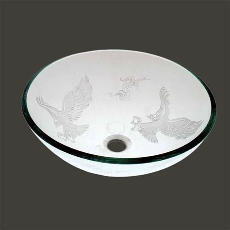 frosted glass vessel sink vessel sinks frosted glass eagle etched glass vessel sink