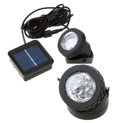 solar powered led spotlight outdoor garden pool waterproof