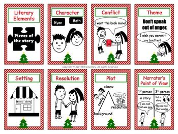 literary elements trading cards  activities