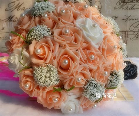 cheap wedding bride bouquet artificial silk flowers
