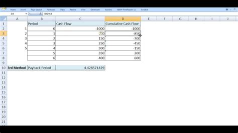 payback period computation  excel dynamically