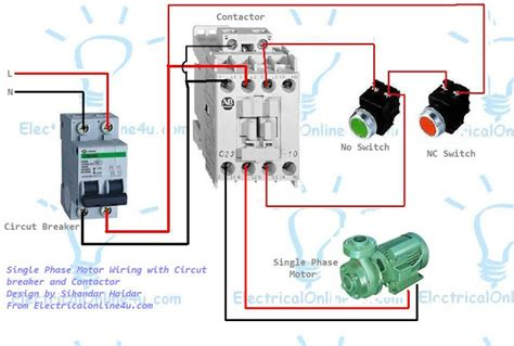 how to wire a motor contactor single phase motor wiring with contactor diagram