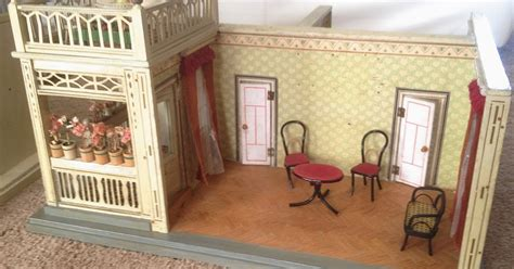 Antique Doll House Room Box With Front