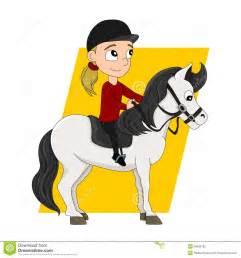 Horseback Riding Child Cartoon Stock Illustration - Image ...