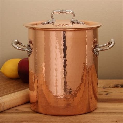 ruffoni hammered copper  quart stock pot  overstockcom shopping great deals