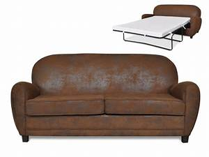 canape 3 places club convertible microfibre vieillie ricky With canapé convertible cuir vieilli