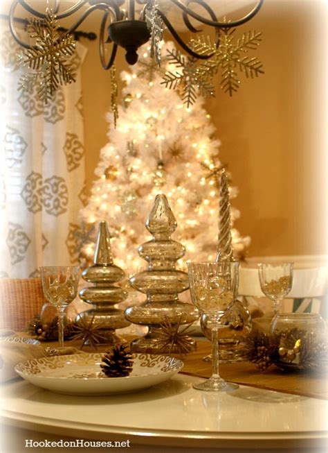 silver gold dining room decorated  christmas