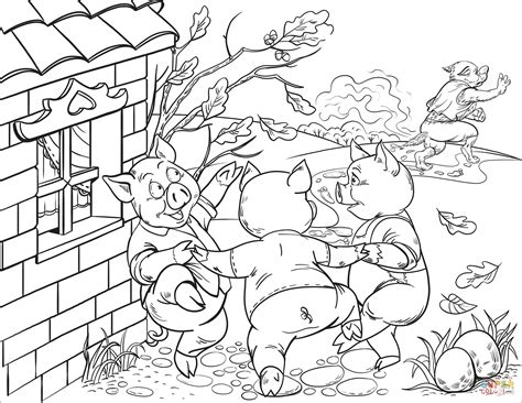Happy Three Little Pigs Dancing coloring page Free