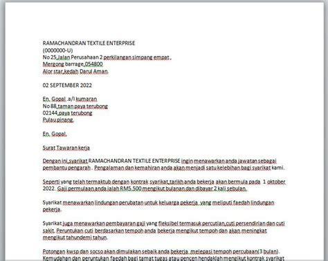 surat rasmi tawaran kerja rasmi f