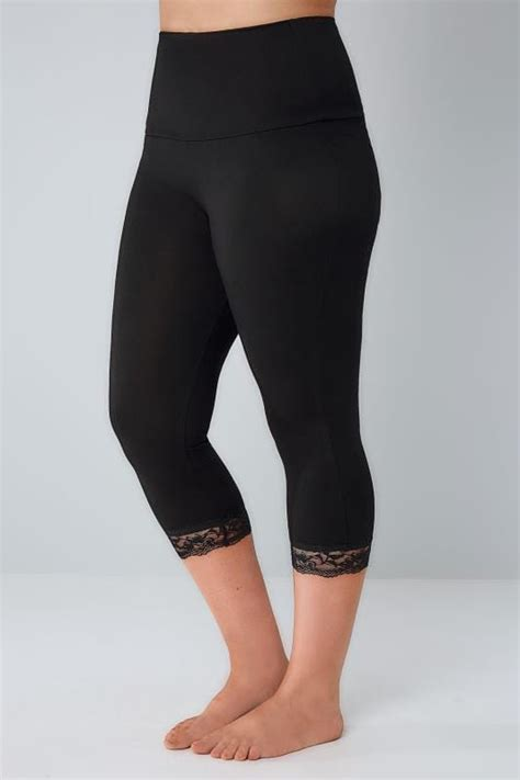 Black Tummy Control Cropped Leggings With Lace Trim Plus