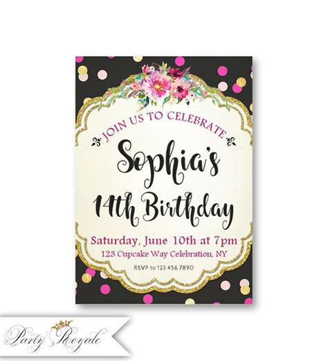 Girl's 14th Birthday InvitationsBirthday Party