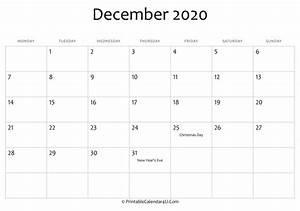 2020 Yearly Calendar Word December 2020 Editable Calendar With Holidays