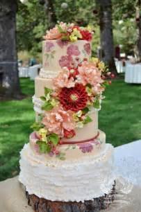 rustic wedding cakes rustic wedding rustic floral painted wedding cake 2038866 weddbook