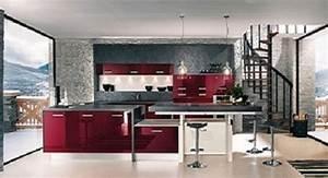 Meuble Cuisine Rouge Laqué : cuisine rouge bordeau laque perene ~ Teatrodelosmanantiales.com Idées de Décoration