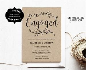 Engagement invitation template printable engagement party for Wedding invitations with engagement pictures