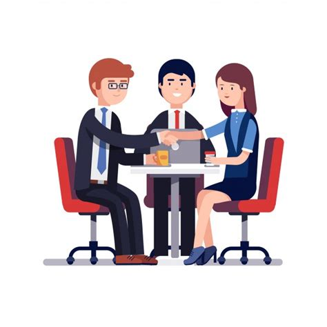 interview success successful business meeting or job interview vector free