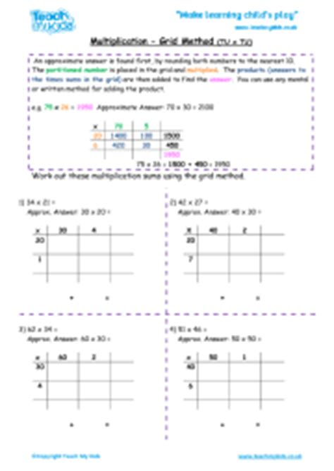 multiplication worksheets using grid method expanded long multiplication tu x tu teach my kids