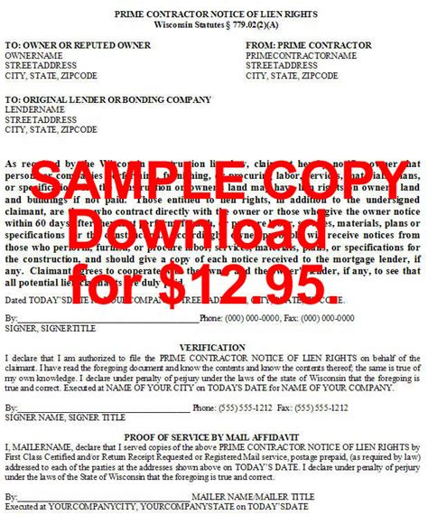 wisconsin individual lien notices  microsoft word format