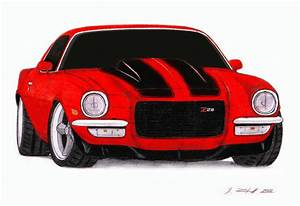 1972 Chevrolet Camaro Z28 Pro Touring Drawing by ...