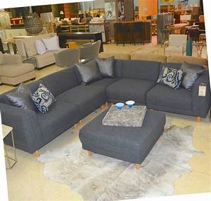 Five Piece Grey Sectional and Ottoman - Horizon Home Furniture