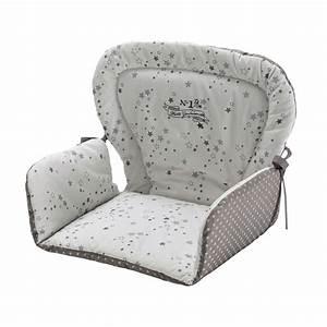 Petite Chaise Bebe 1 An : coussin de chaise haute pour b b en coton blanche grise 25 x 30 cm songe maisons du monde ~ Teatrodelosmanantiales.com Idées de Décoration