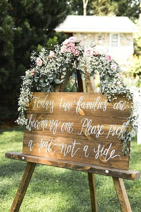 Wooden Wedding Seating Sign Pick A Seat Not A Side Sign