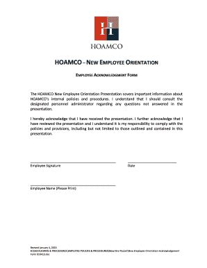 fillable   employee orientation acknowledgement