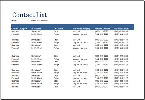 contact list templates  word excel
