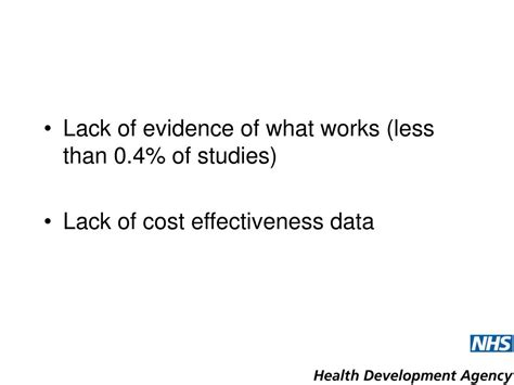 Ppt The Health Development Agencys Approach To Evidence