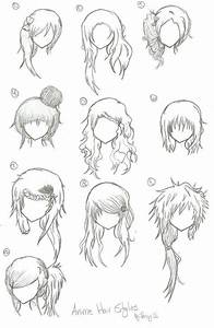 Hairstyles --- Anime, Manga, Drawing, Art, Bun, Curly ...