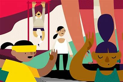 Working Cartoon Start Benefits Health Well Fitness