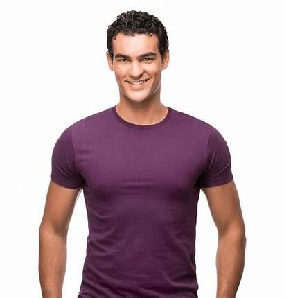 Male Chin Shirt Models Implants Hair Purple