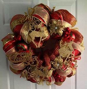 Red and Gold Deco Mesh Christmas Wreath by