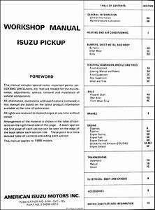 1988 Isuzu P U0026 39 Up Pickup Truck Repair Shop Manual Original