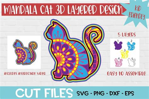 Once every layer is cut, you can start assembling. Cat Mandala 3D Layered Design