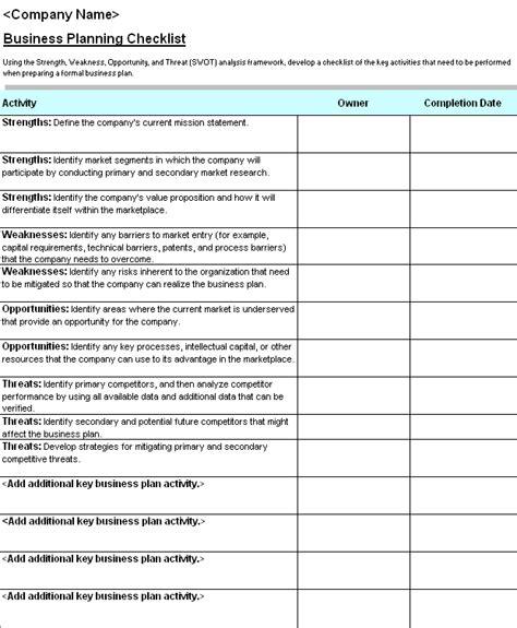 business plan checklist  swot analysis templates